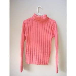 Sweaters - Peach Cable Knit Mock Neck Wool Sweater